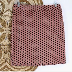 Loft pencil skirt mauve & black polka dot